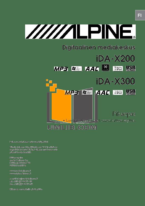 PDF manual for Alpine Car Receiver IDA-X300