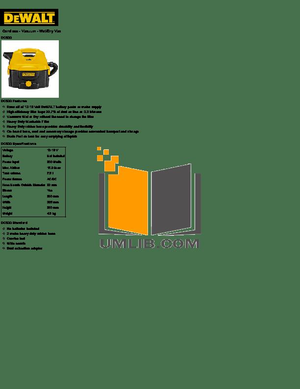 Download free pdf for Dewalt DC500 Vacuum manual
