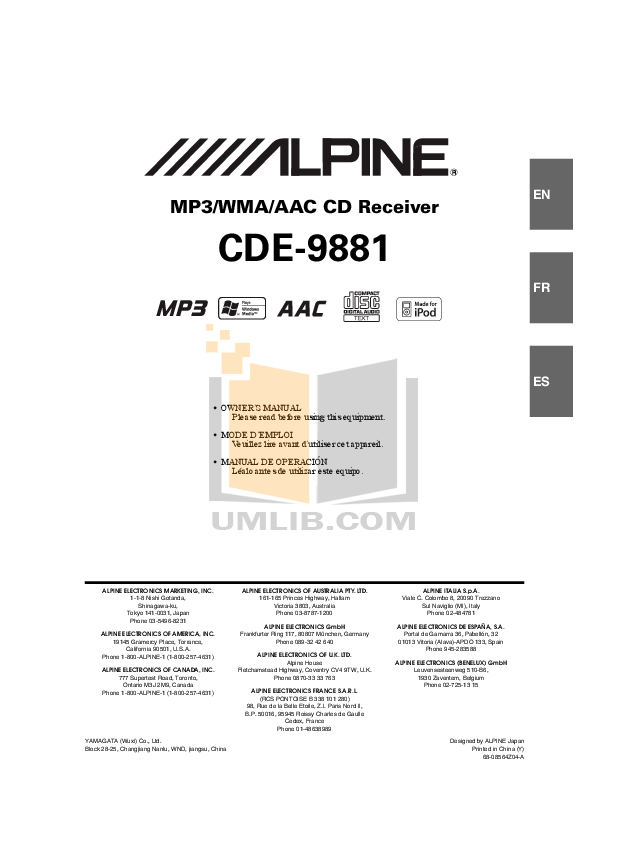 Download free pdf for Alpine CDE-9881 Car Receiver manual