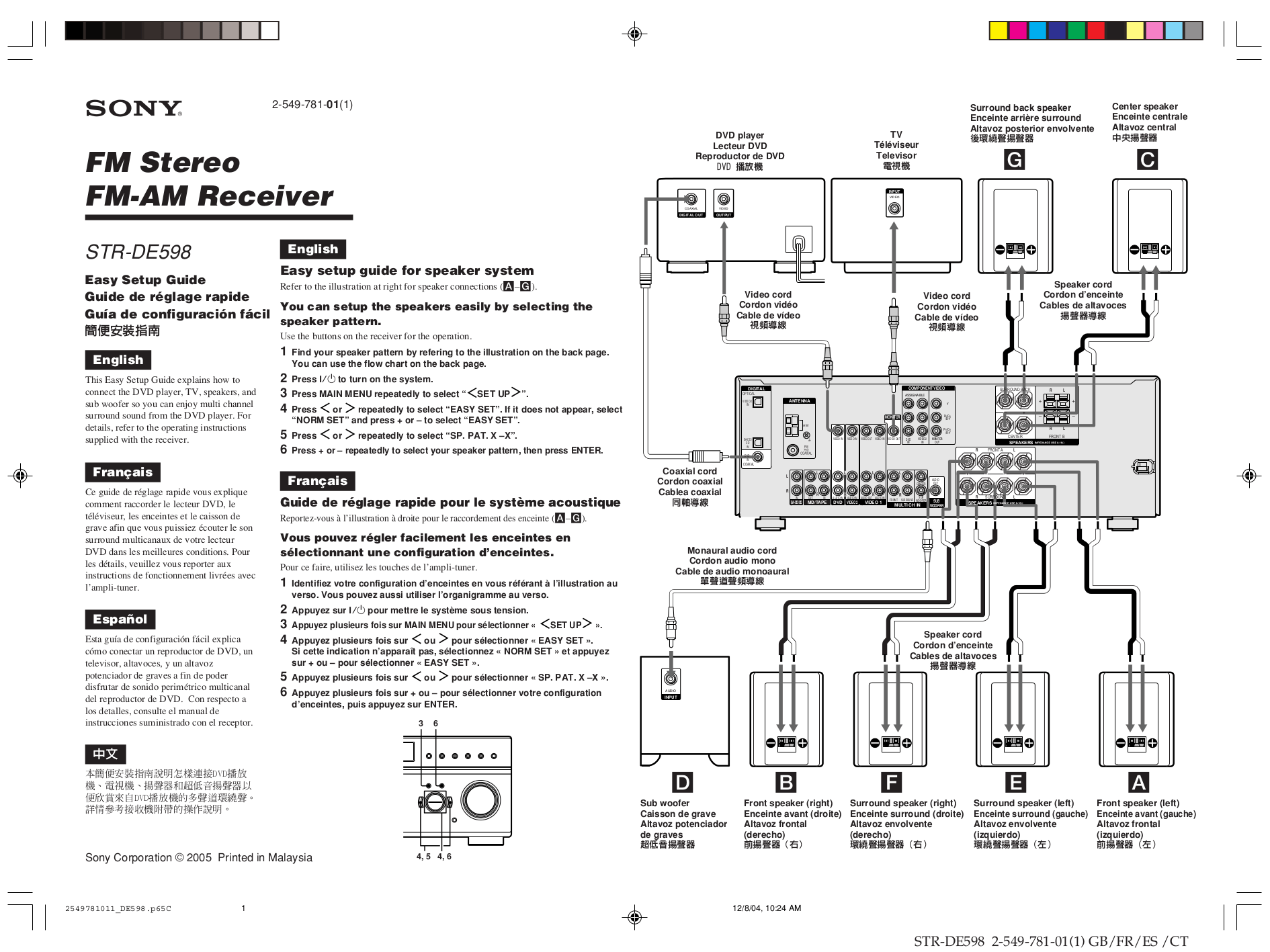 Download free pdf for Sony STR-DE598 Receiver manual