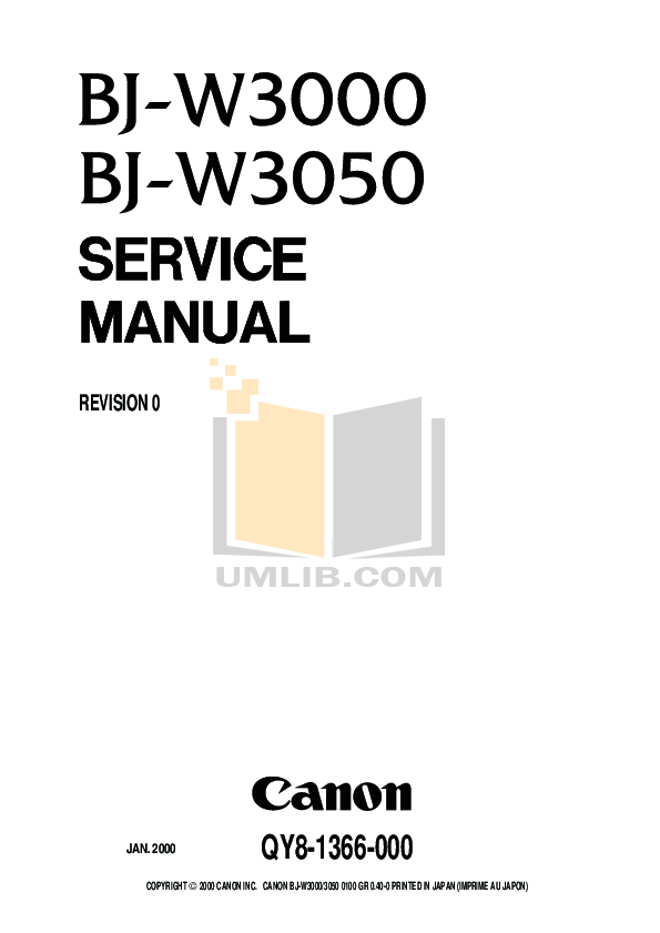 Download free pdf for Canon BJ-W3000 Printer manual