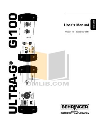 Download free pdf for Behringer Ultra-DI DI100 Direct Box