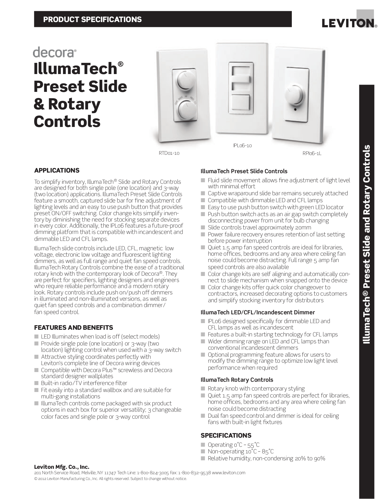 Download free pdf for Leviton Illumatech IPX10-1 Dimmers