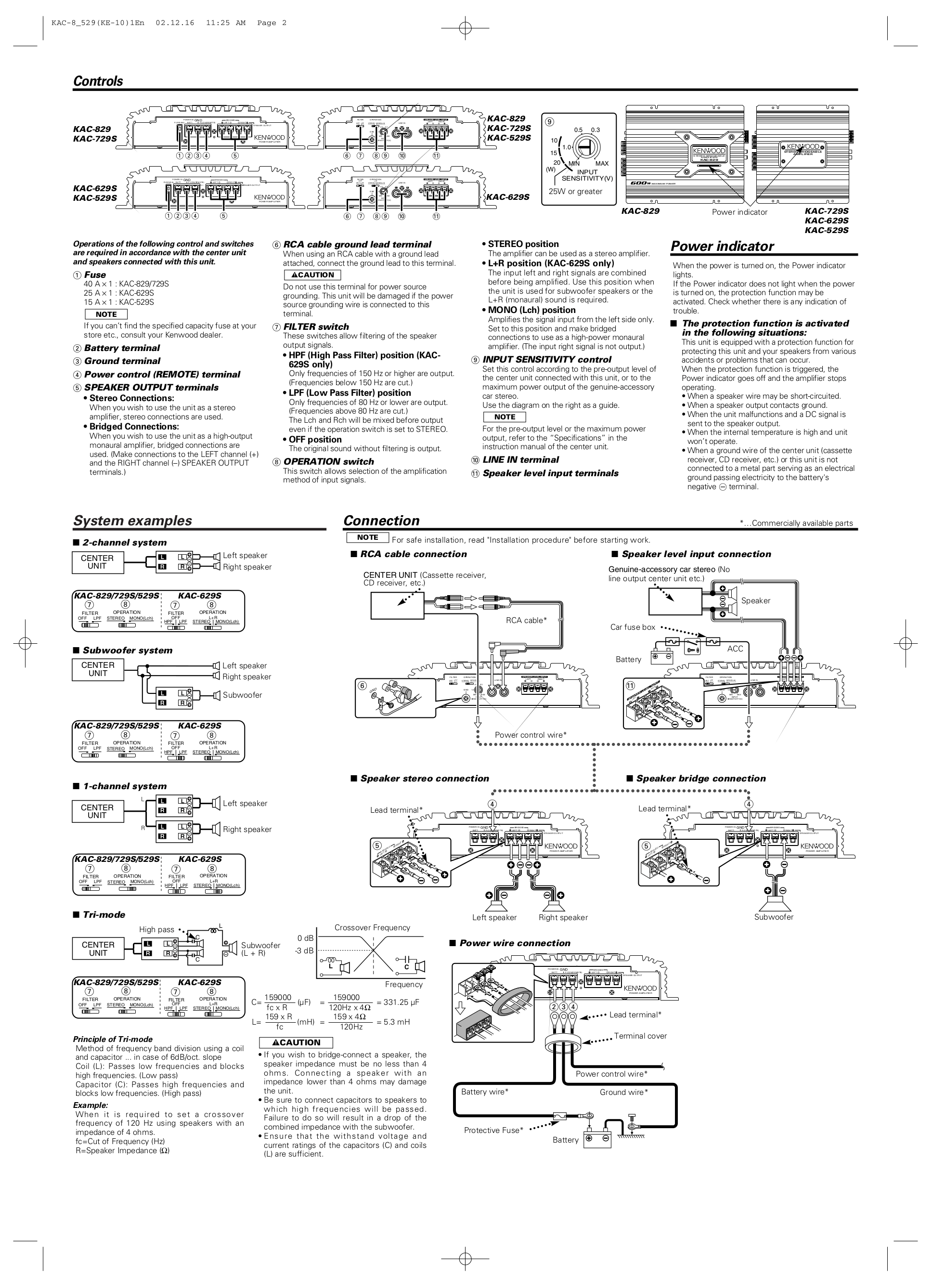 PDF manual for Kenwood Car Amplifier KAC-629S