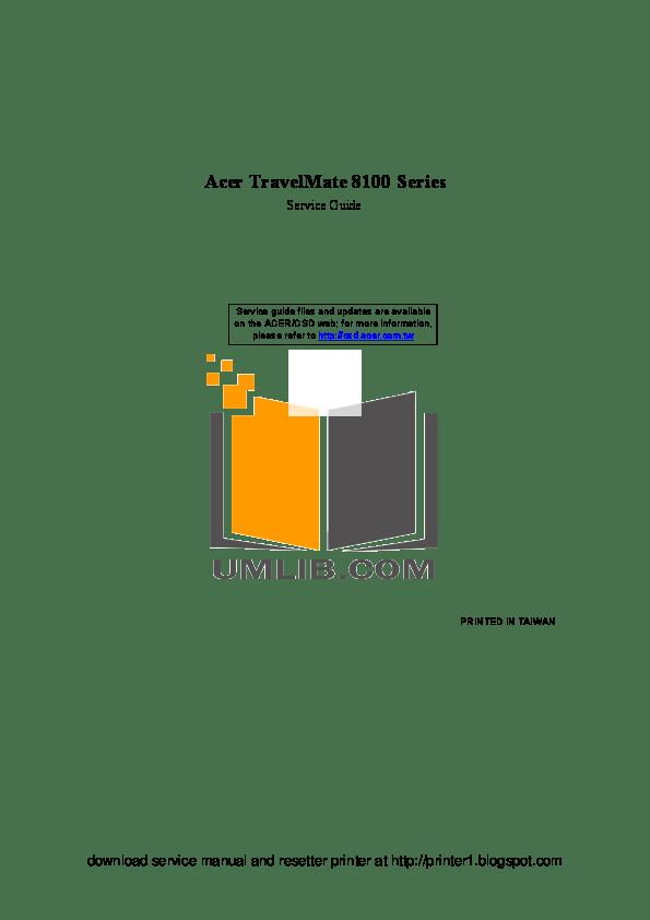 Download free pdf for Acer TravelMate 8100 Laptop manual