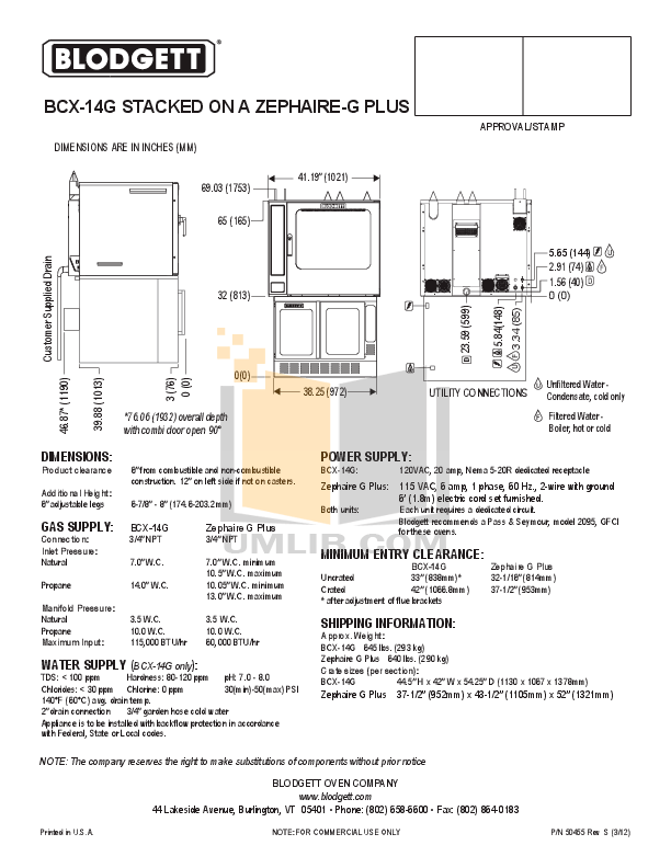 PDF manual for Blodgett Oven ZEPHAIRE-G PLUS