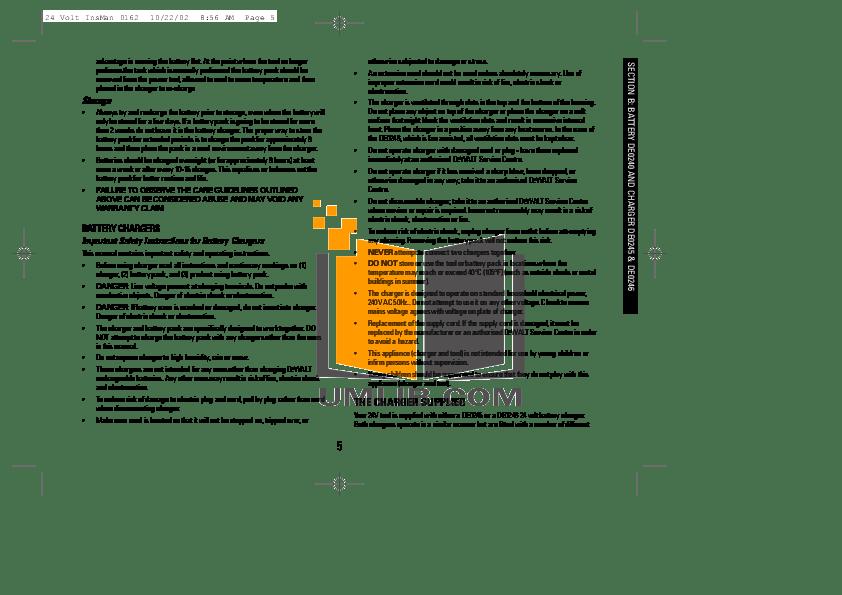 PDF manual for Dewalt Other DW007 Cordless Circular Saws