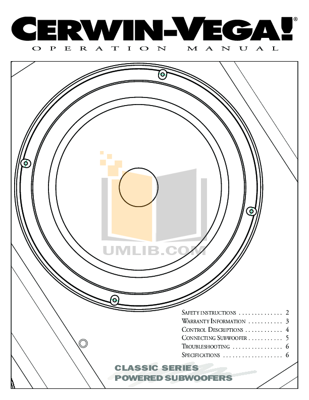 Download free pdf for Cerwin-Vega VE-28S Subwoofer manual
