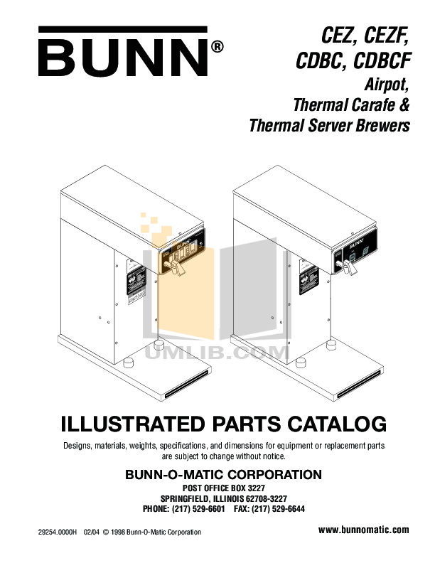 Download free pdf for Bunn CDBCF-APS-MV Coffee Maker manual
