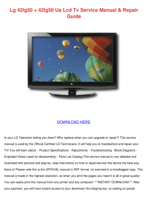 Download free pdf for LG 42LG50 TV manual
