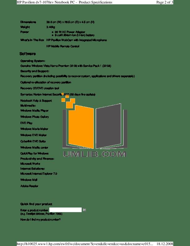 PDF manual for HP Desktop Pavilion 7955