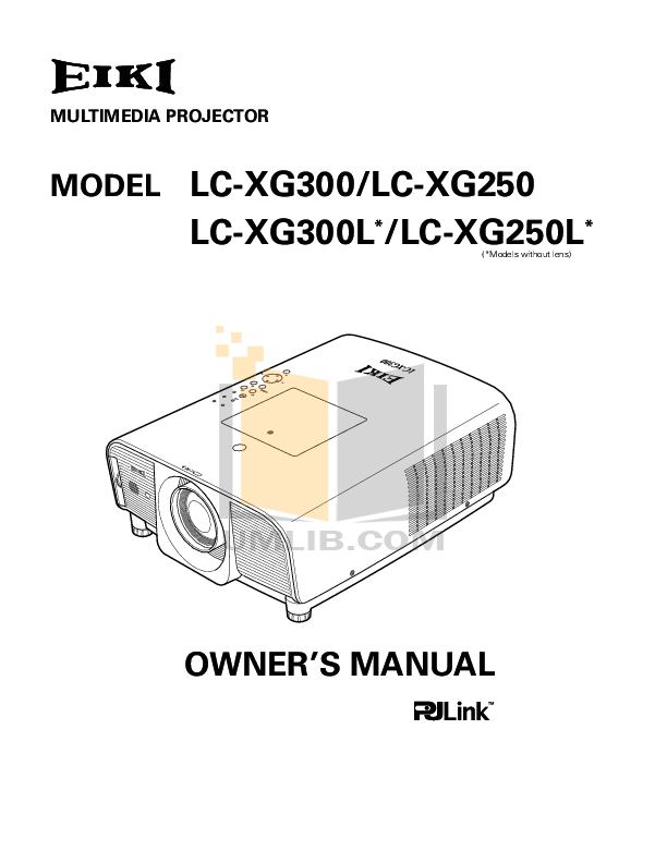 Download free pdf for Eiki LC-300 Projector manual