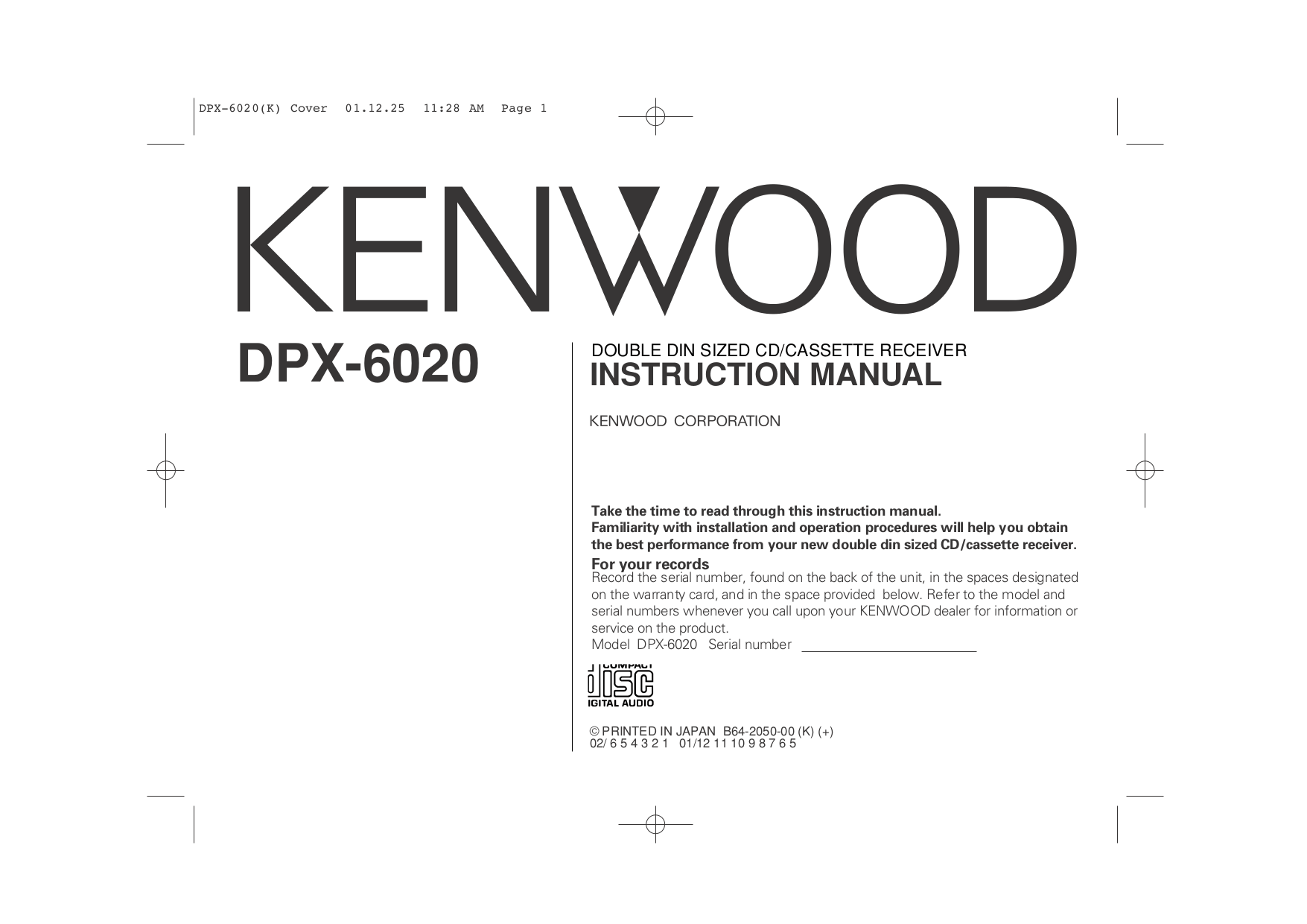 Download free pdf for Kenwood KAC-X401M Car Amplifier manual