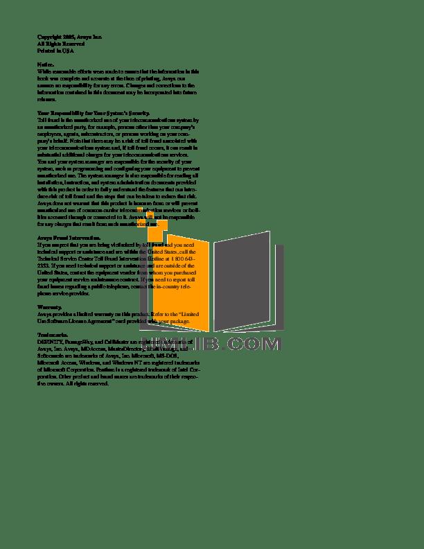 PDF manual for Avaya Telephone 8411D