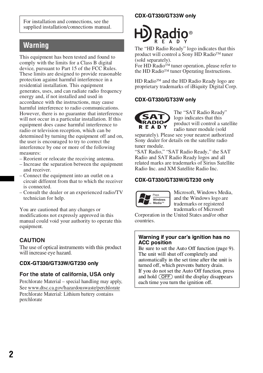 medium resolution of  sony car receiver xplod cdx gt130 pdf page preview