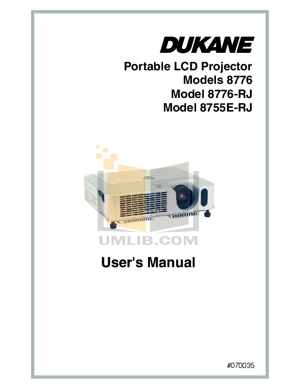 PDF manual for Dukane Projector ImagePro 8755E