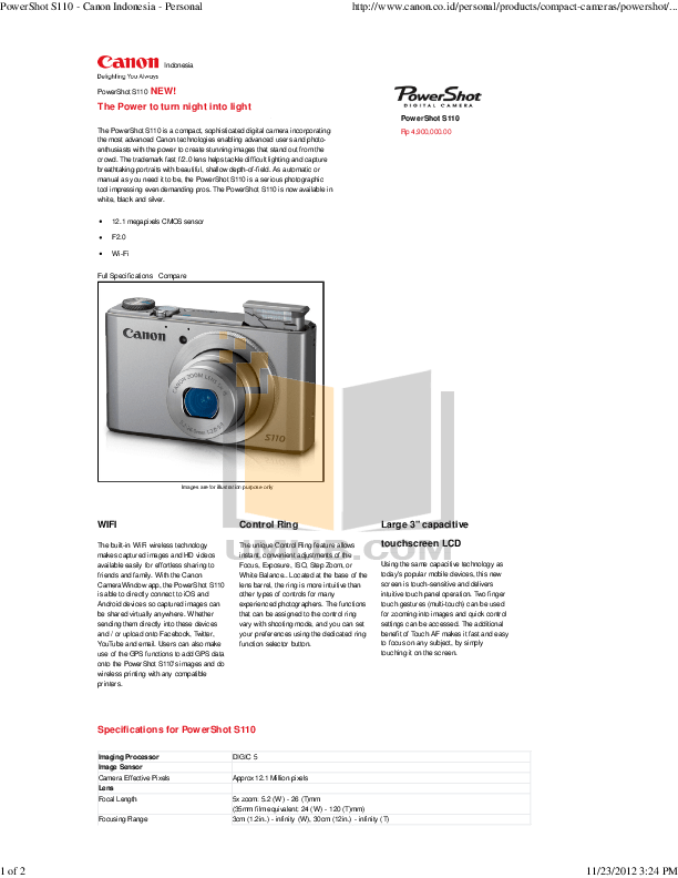 Download free pdf for Canon Powershot S110 Digital Camera