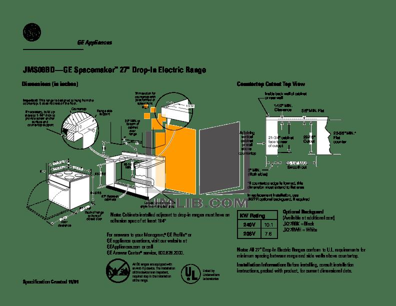 Download free pdf for GE Spacemaker JMS08BDWH Range manual