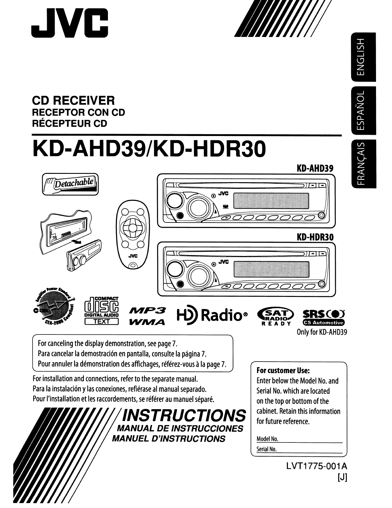 Download free pdf for JVC Arsenal KD-AHD39 Car Receiver manual