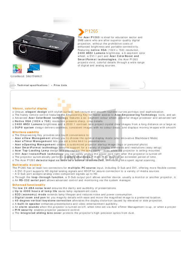 Download free Acer P1165 Projector Manual software