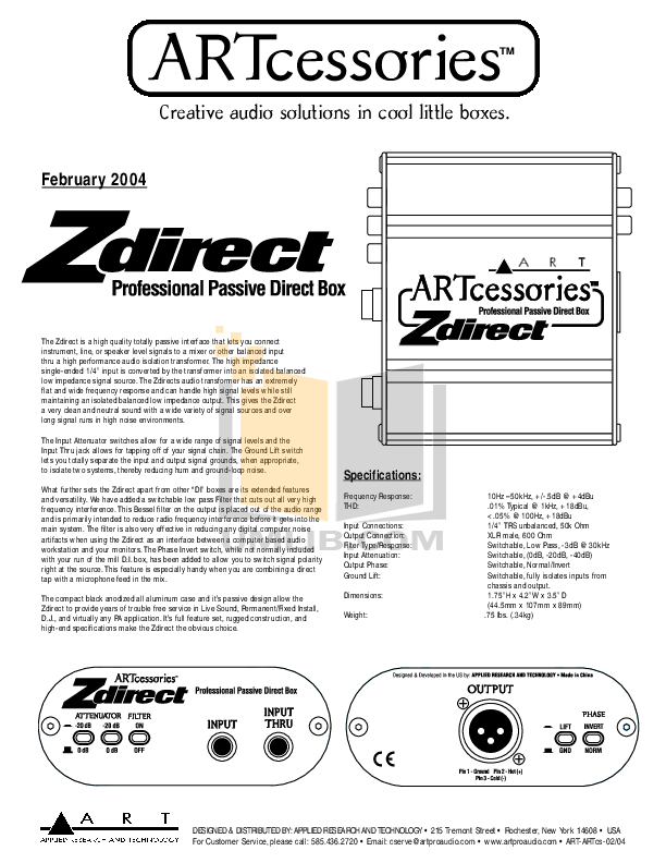 Download free pdf for Art Zdirect Direct Box Other manual