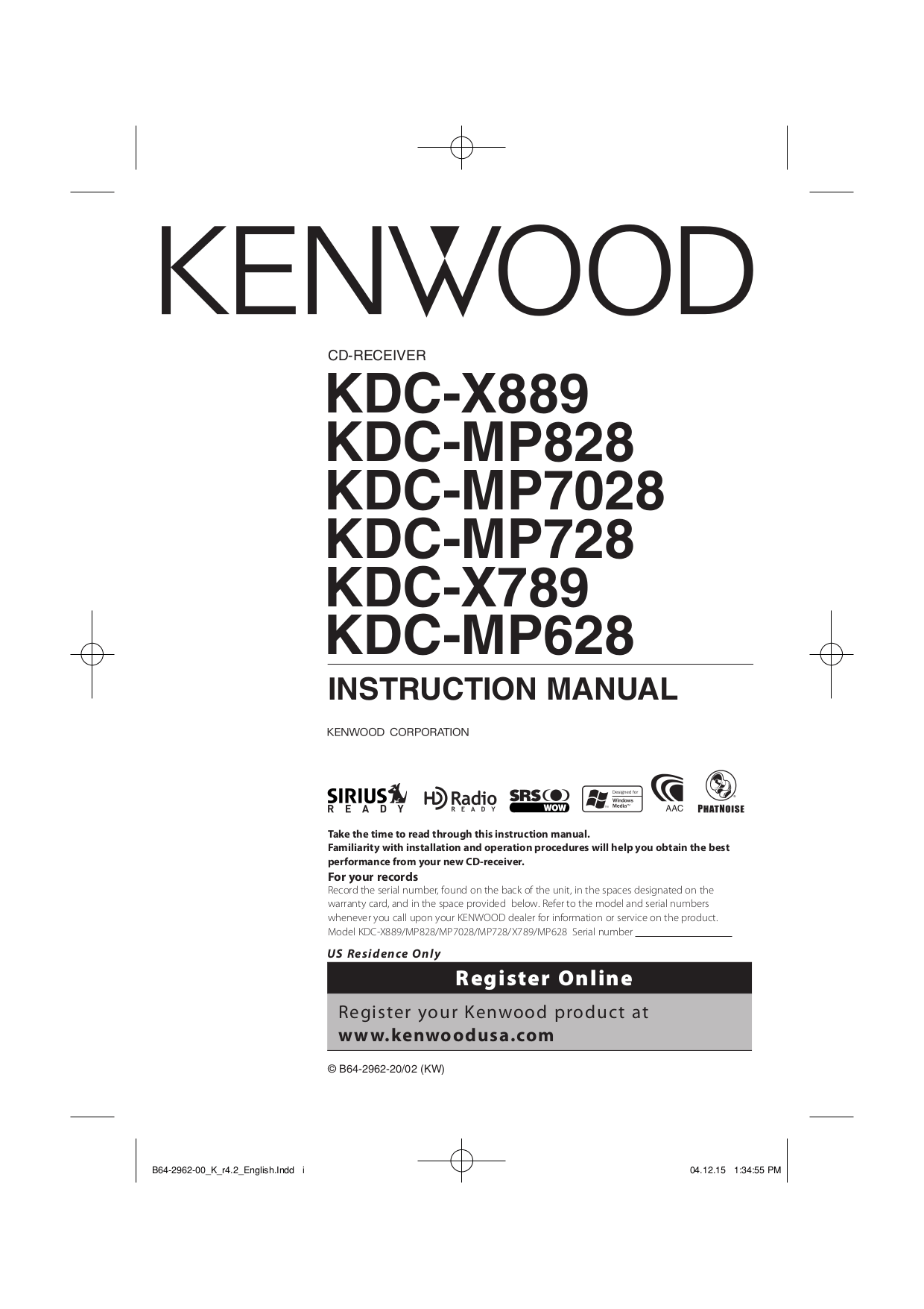 hight resolution of pdf for kenwood car receiver kdc 128 manual