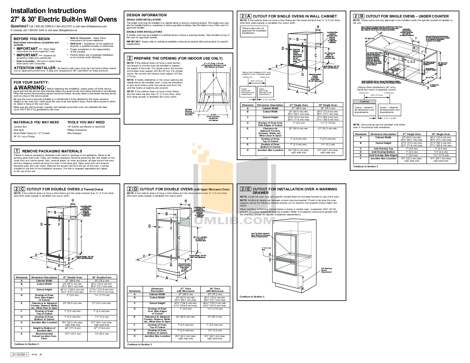 PDF manual for GE Oven Profile PT958SRSS