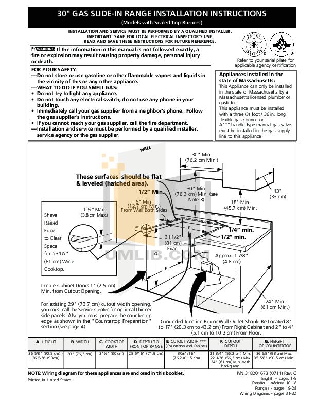 PDF manual for Frigidaire Range FFGS3025LS