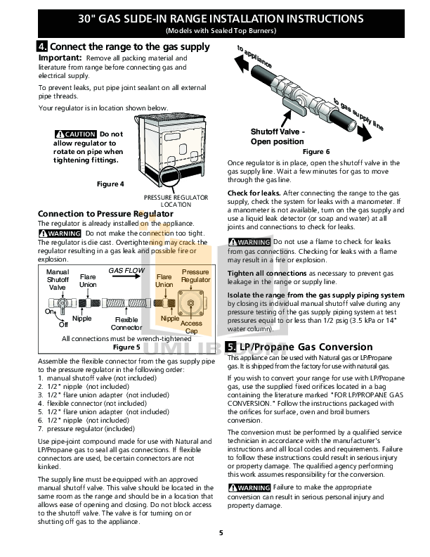 PDF manual for Frigidaire Range FFGS3025LS