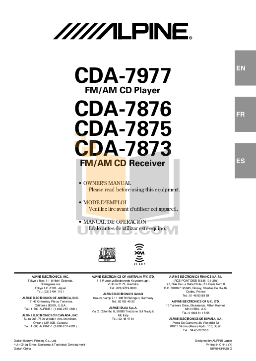 ALPINE CDA-7873 MANUAL PDF