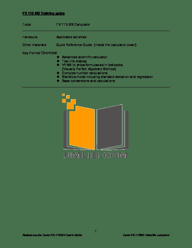 Download free pdf for Casio FX-115ES Calculator manual