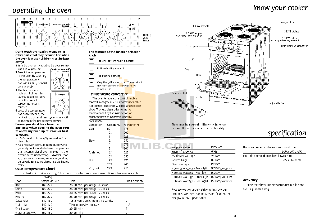 PDF manual for Beko Other S502 Cookers