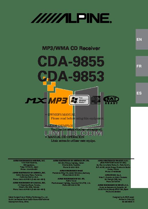 Download free pdf for Alpine CDA-9855 Car Receiver manual