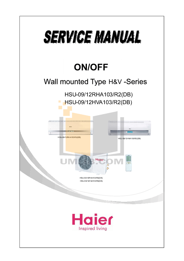 PDF manual for Haier Air Conditioner HSU-07HV03
