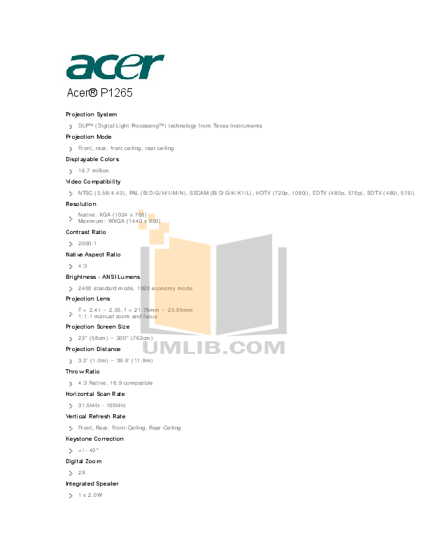 Download free pdf for Acer P1265 Projector manual