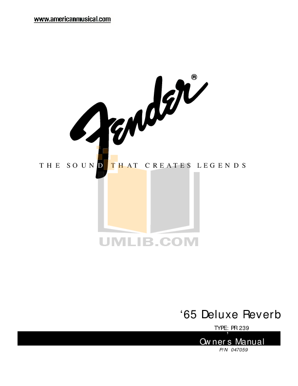 Download free pdf for Fender 65 Deluxe Reverb Amp manual