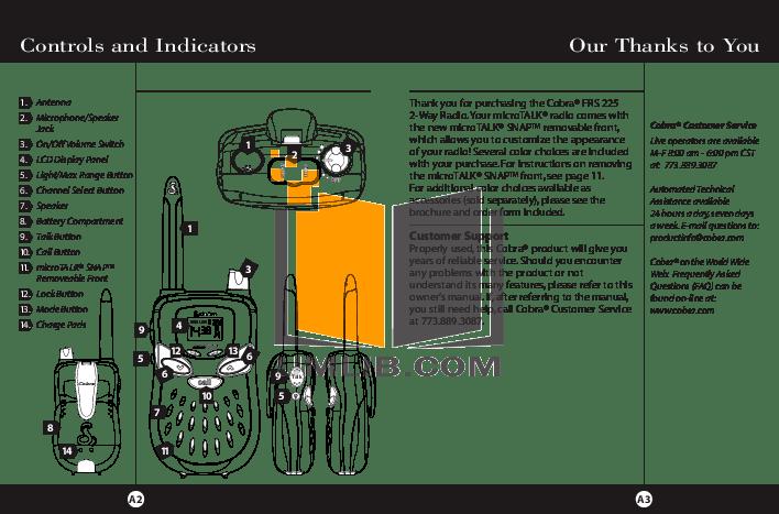 PDF manual for Cobra 2-way Radio microTALK PR 150