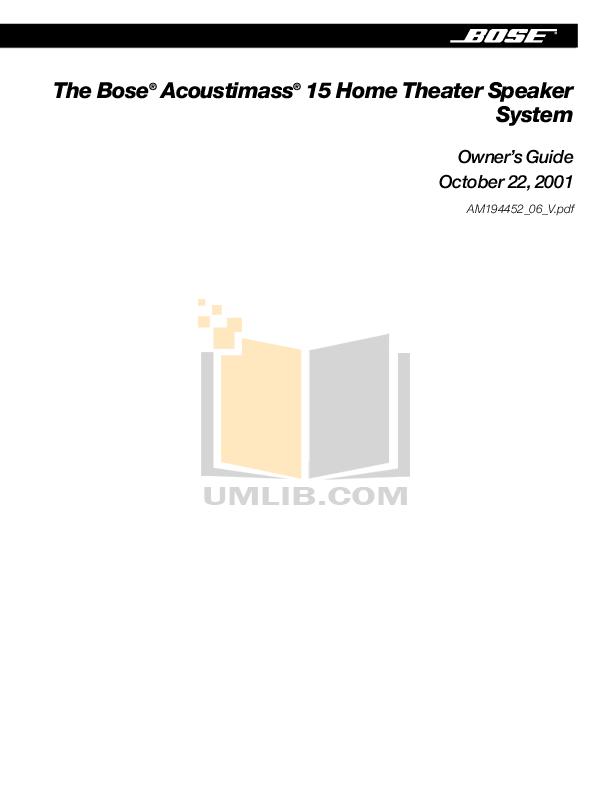 Download free pdf for Bose Acoustimass 15 Series I Speaker