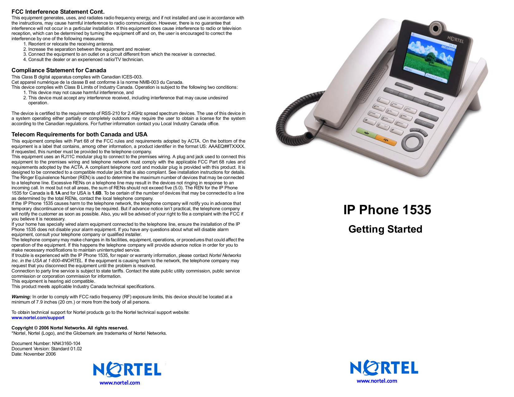 Download free pdf for Nortel 1535 Telephone manual