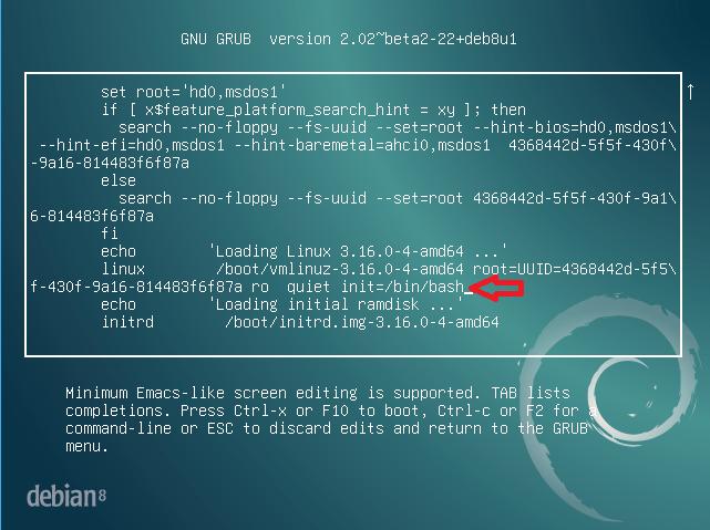 Edit kernel line