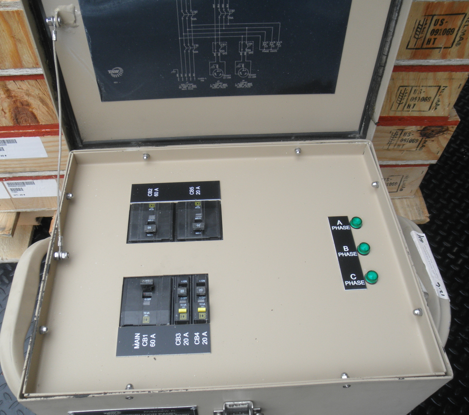 Military Generator Portable Load Center  Breaker Box