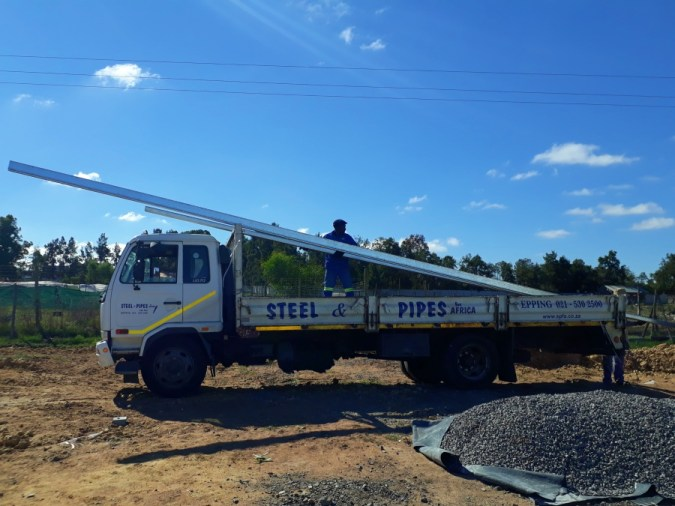 Steel delivery as required in order to prepare for the roof installation