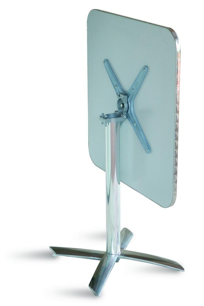 Tavolo Bar professionale quadrato 70 x 70 PIEGHEVOLE in alluminio e acciaio 1 gamba