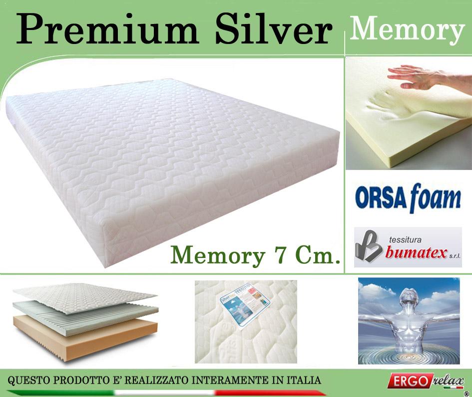 Materasso Memory Mod Premium Silver Singolo 80x190 Zone Differenziate Argento Altezza Cm 21