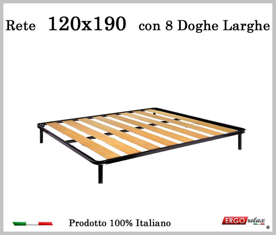 Rete a 8 doghe larghe in faggio una Piazza e Mezzo da 120x190 cm 100 Made in Italy