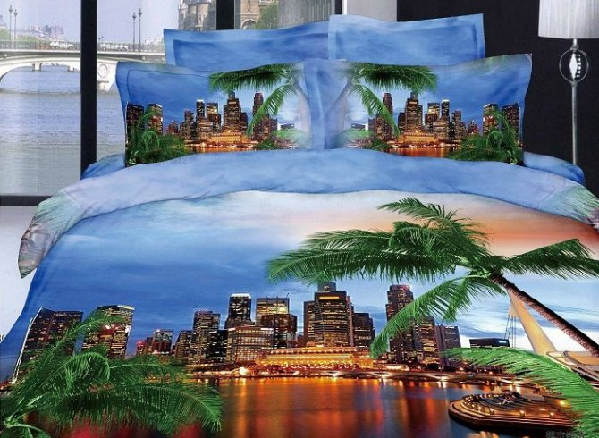 Modern City and Palm Tree 3D Bedding Set