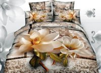 3D Magnolia with Jacobean Printed Cotton 4-Piece Bedding ...