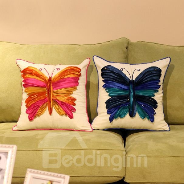 Classic Butterfly Cotton Decorative Throw Pillow  beddinginncom