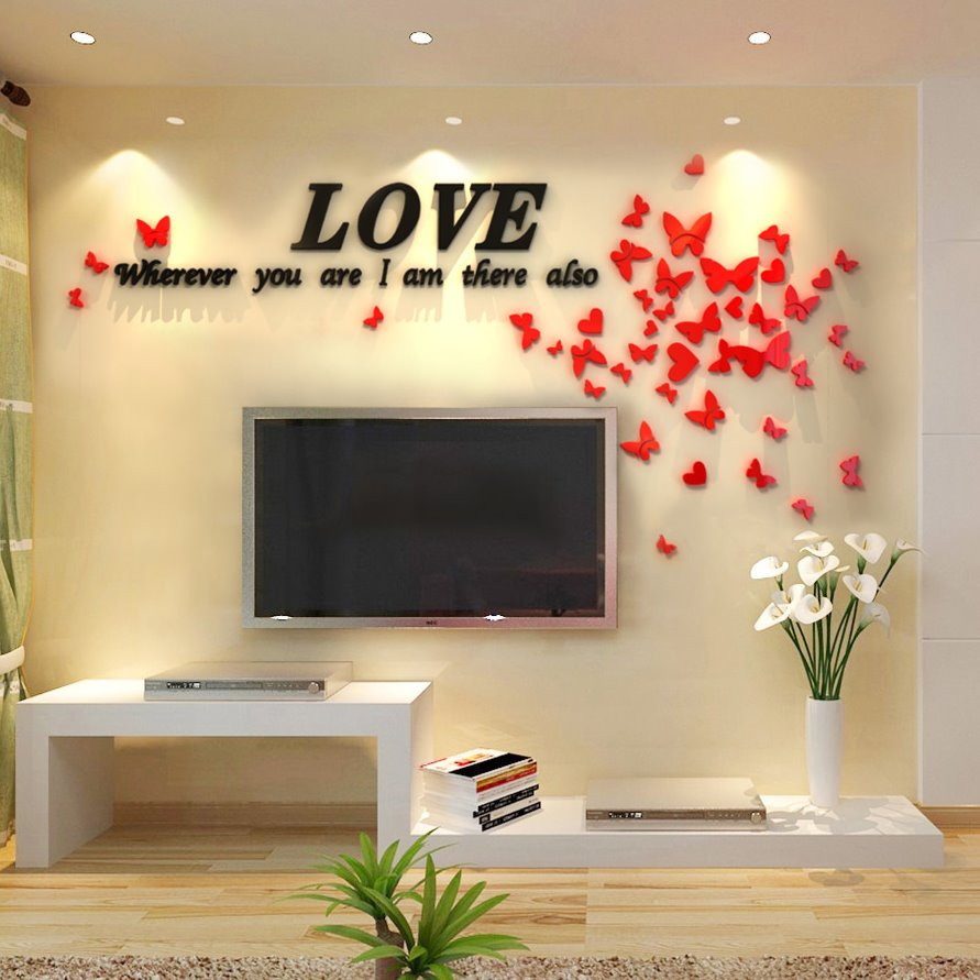 love letters and butterflies acrylic d tv sofa background