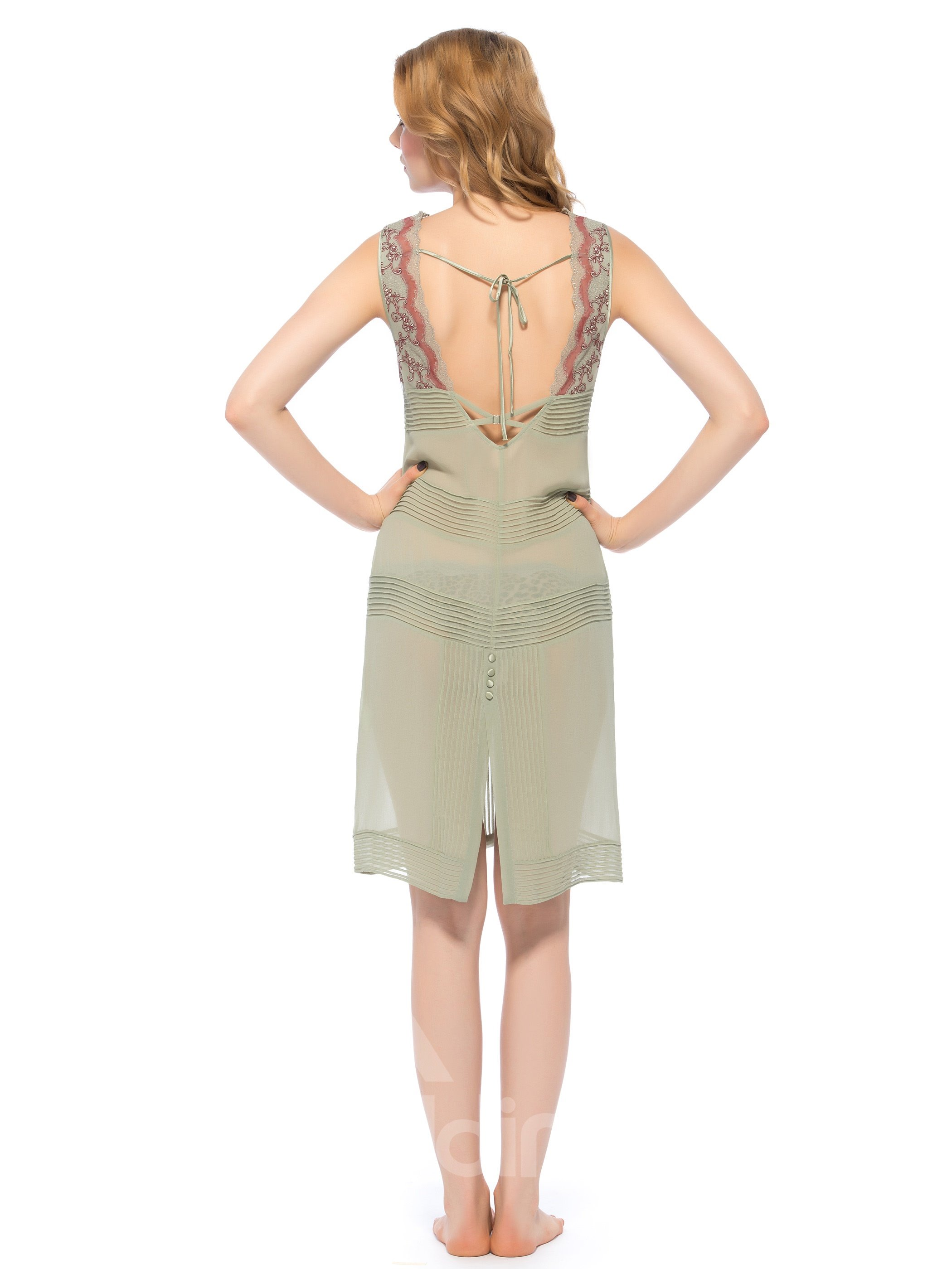 Elegant Flower Embroidery Strap V Neck Back Vent Silk